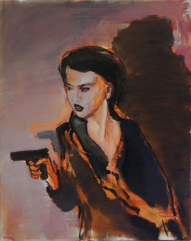 Girl wih gun, 2015, olie op doek, 100 x 80 cm