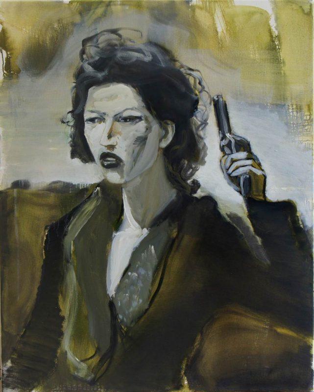 Girl with gun, 2015, olie op doek, 100 x 80 cm
