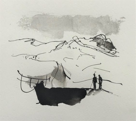 Berglandschap, ink on paper
