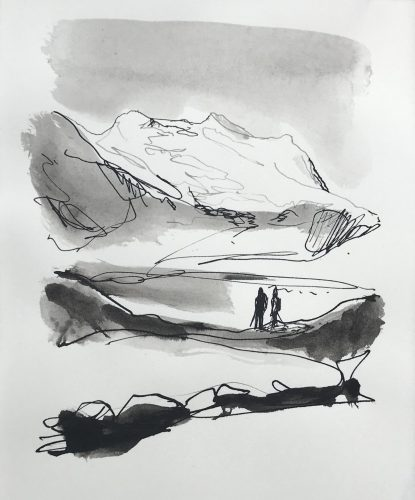 Berglandschap, 2018, ink on paper