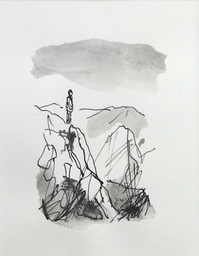 Man in the mountains, 2018, ink on paper