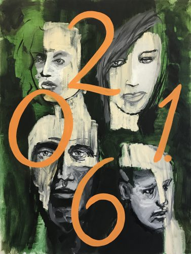 Four faces with numbers, 2018, 120x90 cm