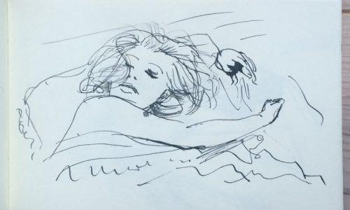 Monica Vitti, ink on paper